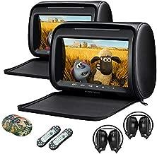 XTRONS Pair Car Headrest DVD Player, 9 Inch Screen Dual Vehicle Headrest Monitor Supports Slot-Load DVD Audios Videos, Games Disc, HDMI Input, USB, SD, IR with Black IR Headphones