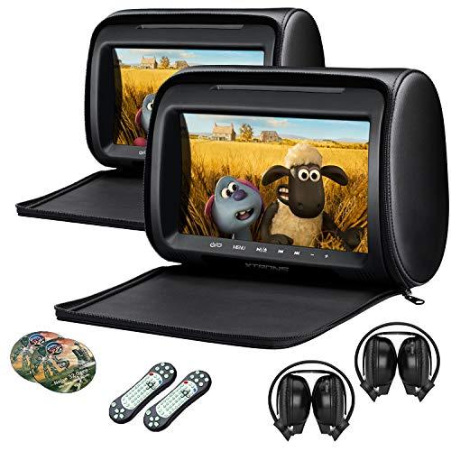 XTRONS Pair Car Headrest DVD Player, 9 Inch Screen Dual Vehicle Headrest Monitor Supports Slot-Load DVD Audios Videos, Games Disc, HDMI Input, USB, SD, FM, IR with Black IR Headphones