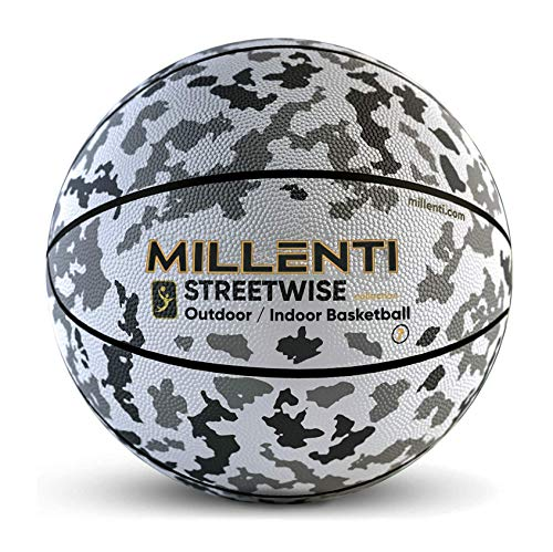 Millenti Camo Basketball Ball Camouflage - Outdoor Indoor Street NCAA NBA Adult Men Regulation Size 7, 29.5, Streetwise Basketball Grey BB0207GY
