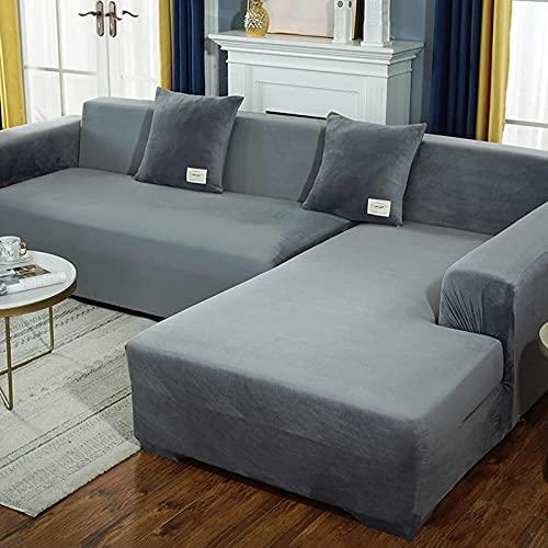 Funda de sofá de felpa de terciopelo, fundas de sofá fáciles de llevar, 2 piezas elásticas suaves para perros, mascotas, niños, color gris, 3+4 asientos en forma de L (75 a 91 ''+92 ''-119 '')