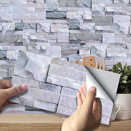 3D Pegatinas de Azulejos, Paneles Impermeables Autoadhesivos Calcomanías de Papel de Pared Azulejos Rectangulares para Decoración del Hogar, PVC (Ladrillo de Piedra Gris Claro, 27 piezas)