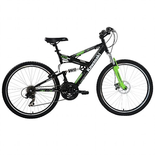 Kawasaki DX Full Suspension Mountain Bike, 26 inch Wheels, 19 inch Frame, Men's Bike, Black/Green