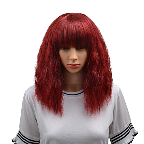 BERON 14' Women's Short Curly Bob Wig with Free Wig Cap (Wine Red)