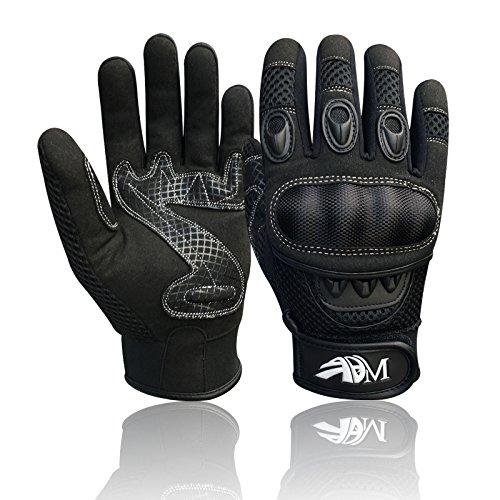 Prime Ganzer Finger Motorrad Sport Reiten Mountainbike Schutz Sommer Handschuhe 9001 – Schwarz, Small - 2