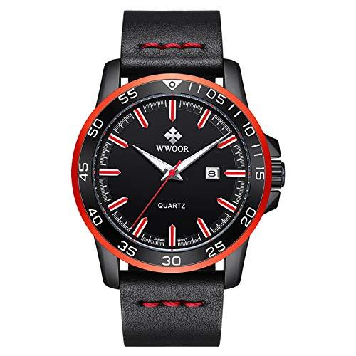 DAUERHAFT Reloj Masculino de Cuero PU de Cuarzo de Negocios de Lujo con Calendario Impermeable WWOOR, Reloj de Pulsera con Banda de Acero de aleación Impermeable(Negro Rojo)