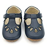 Dotty Fish Lujosos Zapatos de Cuero para bebés, para Fiestas, Bodas y Otras Ocasiones Especiales. Pepitos en Azul Marino. 20 EU