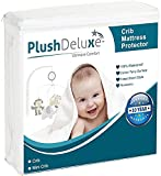 PlushDeluxe Crib Size Waterproof Mattress Protector Breathable Soft Cotton Terry Surface (Crib)