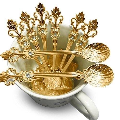 Yesoa Kaffeelöffel, Espressolöffel, Demitasse, Teelöffel, Dessert, Kuchen, Eis, Zucker, Gewürze oder Gewürzlöffel, 11 cm, 8 Stück