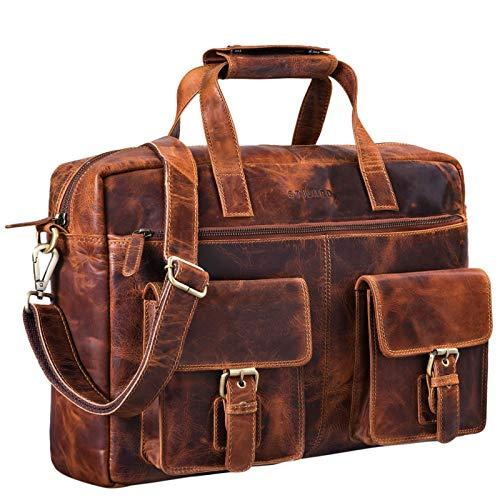 STILORD 'Ron' Vintage lederen hoesje 15,6 inch laptop vak grote schoudertas mannen voor kantoorwerk Uni moderne aktetas gemaakt van echt rundsleder, Kleur:kara - cognac