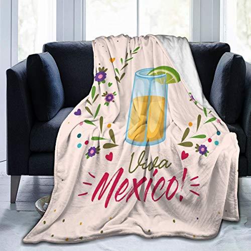 SURERUIM Soft Fleece Throw Blanket,Imagen de Vaso de chupito con Letras Viva México y Ramas Bastante Florales artístico,Home Hotel Sofá Cama Sofá Mantas para Parejas Niños Adultos,150x200cm