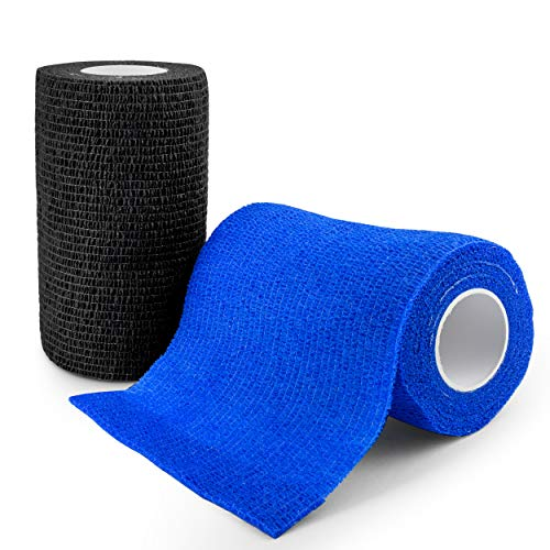 elinch 12 Stück Tape Set - Haftbandage in blau und schwarz - 10 cm x 4,5 Meter lange Fixierbinde selbsthaftend - Cohesive Bandage für Menschen und Tiere (Blau)