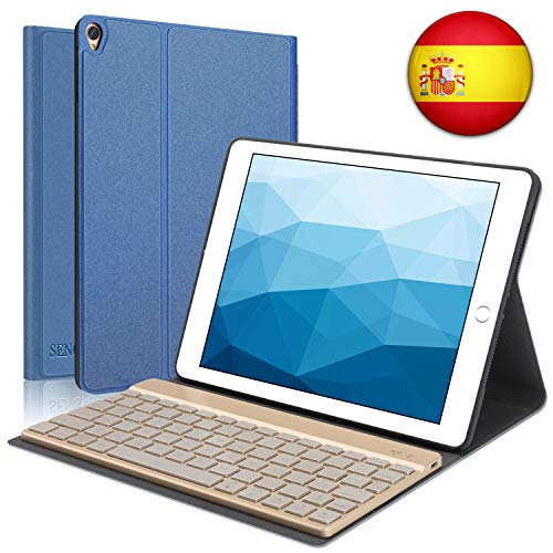 SENGBIRCH Funda con Teclado Español para iPad Air 3 2019/ iPad Pro 10.5 2017, Teclado Bluetooth Retroiluminación de 7 Colores Desmontable, Soporte magnético con función de automático Sueño/vigilia