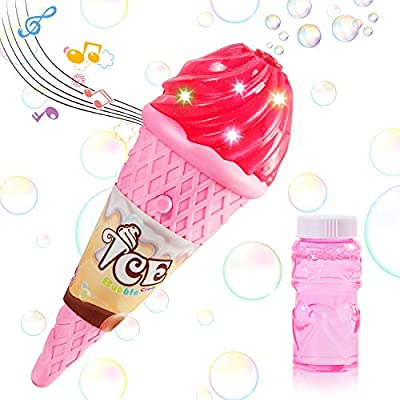 Bubble Machine ice Cream Bubble Machine Toy, Bubble Machine for Kids Boys Girls Toys Indoor Outdoor Automatic Bubble Maker Easy to Use, Great gift Toys for 3,4,5,6,7 Year Olds and up. (Pink / Yellow)