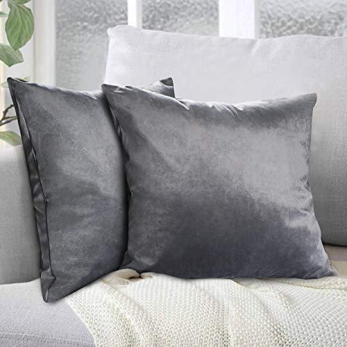Yoofoss Cushion Covers Decorative Velvet Pillowcases 2 Pack 45cmX45cm Throw Pillow Covers for Sofa and Bed with Invisible Zipper