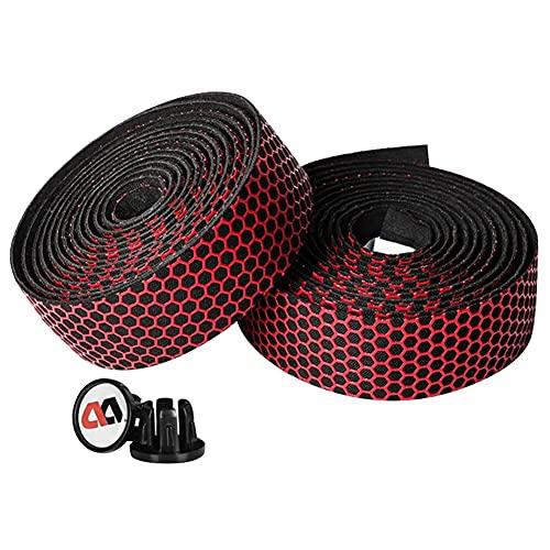 yarui 自転車バーテープ ロードバイクバーテープ 滑り止め 衝撃吸収 シリカゲルシリコン EVAショックハンドルバーテープ (レッド)