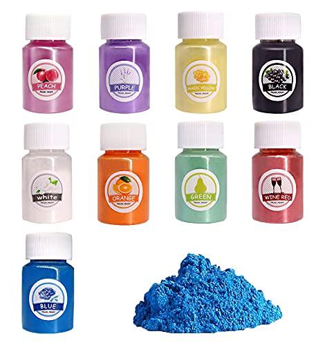 Heatigo Epoxidharz Farbe, 9 PCS Mica Pulver Seifenfarbe Set Metallic Farbe Resin Farbe Pigmente Pulver für Seife Kunstharz Gießharz Malerei DIY… (Farbe)