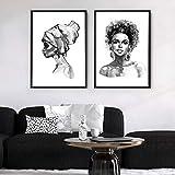 ganlanshu Cuadro En Lienzo Decoración de hogar de Pared de Mujer Africana para póster de Sala de estar60x80cmx2Pintura sin Marco