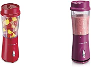 Hamilton Beach Personal Blender for Shakes and Smoothies with 14oz Travel Cup and Lid, Red (51101RV) & Personal Blender for Shakes and Smoothies with 14oz Travel Cup and Lid