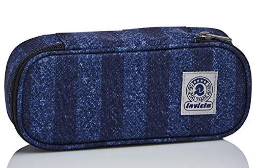 Bustina Ovale Invicta Stripes, Blu, con Organizer interno porta penne
