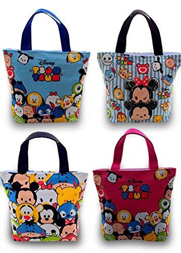 Finex Tsum Tsum oder Mickey Minnie Maus Tote Serie Canvas Kosmetiktasche Handtasche Tote Drawstring Rucksack Mehrfarbige Reißverschlusstasche (2 Stück)