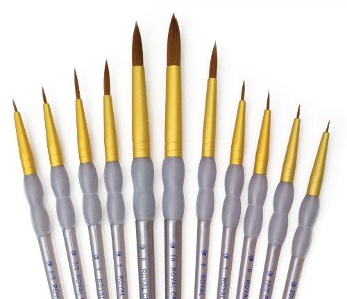Royal and Langnickel Crafter's Choice - Confezione da 11 pennelli rotondi con setole in taklon, colore: marrone