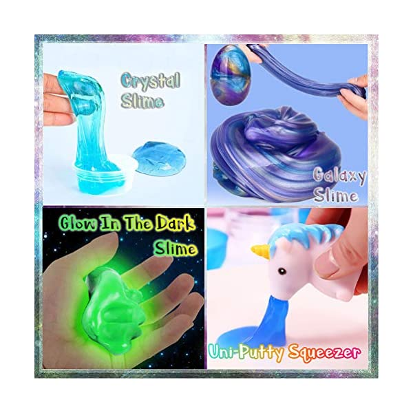 KiddosLand Unicorn Crystal Slime Kit for Girls Boys Unicorn Gifts for Kids Party Inclusive Glow in The Dark Slime Making… 4