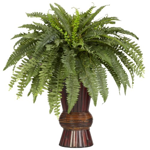 Nearly Natural 6628 Boston Fern with Bamboo Vase Decorative Silk Plant, Green