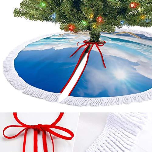 KAZOGU Round Christmas Tree Skirt Base Cover Holiday Decor Beach Starfish Ornaments Xmas Tree Skirts for Party