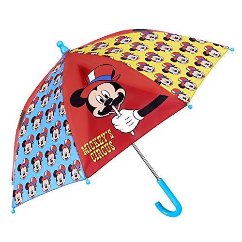 Paraguas Infantil Disney Mickey Mouse - Paraguas Niño Estampado Raton Mickey - Largo de Colores Seguro y Antiviento - Manual - PFC Free - 3/6 años - Rojo Azul Amarillo - Perletti Kids