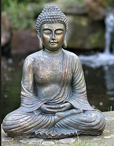 Adorno de jardín grande, 39cm, diseño de Buda tailandés sentado con efecto piedra, para exterior e interior
