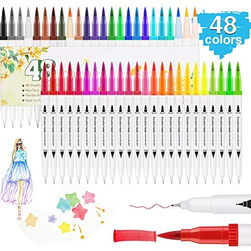 Dual Brush Pen Set, Hospaop 48 Farben Aquarell Pinselstifte Handlettering Stifte Set, Doppelfilzstifte Acrylic Painter Fasermaler[3 mm] und Fineliner[0,75 mm] für Bullet Journal, Kalligraphie,Geschenk