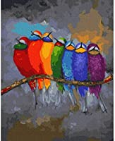 DIYデジタル絵画Diyデジタル油絵壁画家の装飾アクリル画7つの虹の鳥40X50cm