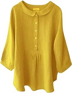 Womens Summer Fashion 2019 ! Women Fashion Turn Down Collar Solid Color Three Quarter Top T Shirt Blouse