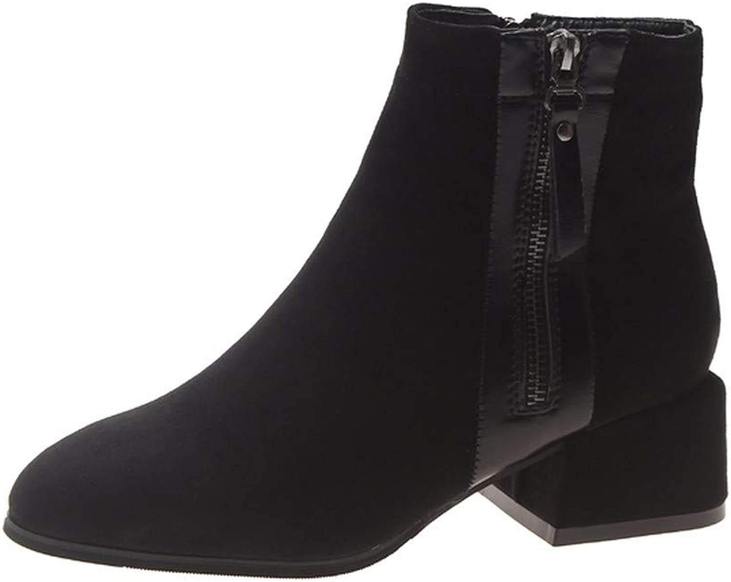 SFSYDDY Popular shoes Martin Boots with High 5Cm Retro Thick Short Boots Thin Naked Boots and Velvet shoes.