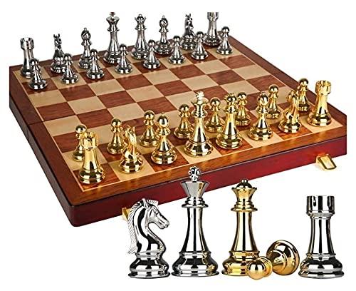 Juego de ajedrez Conjunto de ajedrez sólido Plegable Conjunto de ajedrez de Madera Conjunto de Piezas Juego Juego de Mesa de ajedrez (Size : 53x53x4cm)
