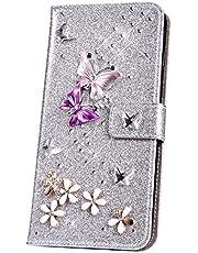 JAWSEU Funda Brillante Brillo Compatible con Huawei P20 Pro, PU Cuero Flip Libro Billetera Soporte Carcasa con 3D Glitter Mariposa Diseño Cierre Magnético Ranura para Tarjetas Protectora Funda,Plata