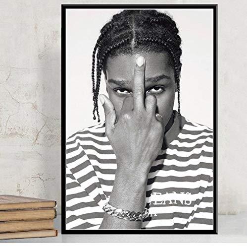 Póster Art Decor ASAP Rocky Rap Music Star Hip Hop Rapper Modelo De Moda Arte De La Pared Pintura En Lienzo 40 × 60Cm Sin Marco