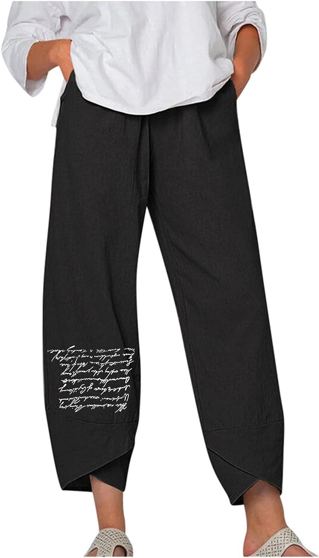 HHoo88 Summer Pants for Women Casual Cotton Linen Year-end gift Bagg Wide Leg Award