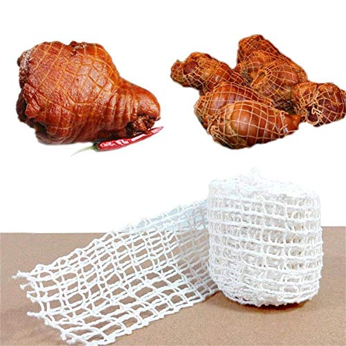 Ya-tube Meat Netting Roll Elastic Ham Sock Meat,Cotton Smoked Meat Poultry Ham Netting Roll Wrapping Net Meat Tying Roll for Meat Cooking (1m/3m)