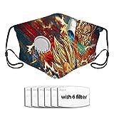 Qefgjbw CUBIERTA de polvo de filtro de carbón activado Dragon Ball Face CUBIERTA con una válvula con 6 filtros