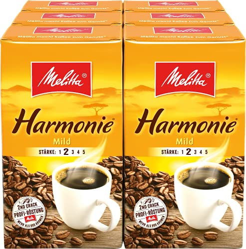 Melitta Gemahlener Röstkaffee, Filterkaffee, ausgewogen und mild, Stärke 2, Harmonie mild, 6er Pack (6 x 500 g)