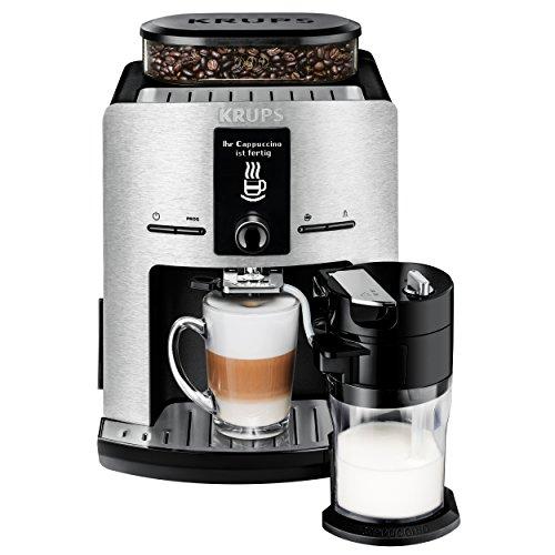 Krups EA829D Kaffeevollautomat Latt'Espress (Aluminiumfront, One-Touch Funktion, 15 bar, LC Display, Milchbehälter) Aluminium/ Schwarz