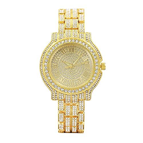 YZOTEK Bling Crystal - Reloj de pulsera analógico de cuarzo clásico de lujo, pulsera de acero inoxidable con diamantes de imitación para hombres y mujeres, Dorado.,