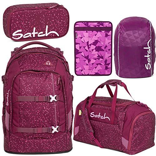 Satch Pack Berry Bash 5er Set Schulrucksack, Sporttasche, Schlamperbox, Heftebox & Regencape lila