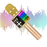 Verkstar Upgraded Wireless Bluetooth Karaoke Microphone with Flashing Colorful LED Lights, 4-in-1 Handheld