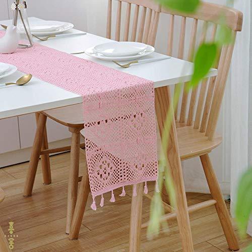 DSJ tafelkleed, rechthoekig, katoen, haken, groen, 24 x 140 cm