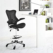 Modway Charge Drafting Chair in Black - Reception Desk Chair - Tall Office Chair for Adjustable Standing Desks - Drafting Table Stool With Flip-Up Arms
