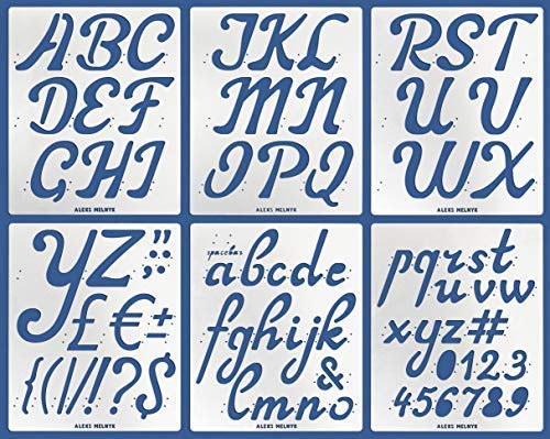 Aleks Melnyk #41 Schablone/Metall Stencil Vorlagen for Painting/Buchstaben, Zahlen, Alphabet - 5,1 cm/6 Stück/DIY Kunst Projekte/Stencil für Scrapbooking und Zeichnen/Brandmalerei Schablone/Basteln
