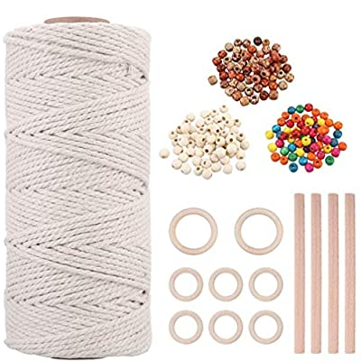 Natural Macrame Cord 3mm x 109 Yards with 180pc...