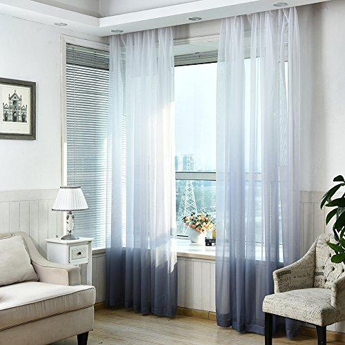 fourseasons Rideau Voilage Voile de Fenêtre pour Salon Chambre 100 X 270 cm Design Moderne et Simple (Gris)